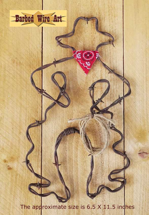 Barbed Wire Art ~ Country Cowboy Horse Farm and Ranch Decor - Rodeo ...