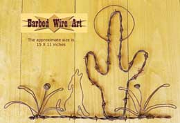 Cactus And Coyote Scene by Barbed Wire Art