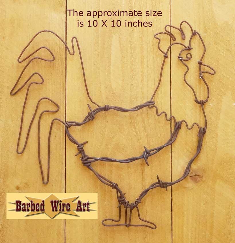 Rooster hen chicken kitchen pen wall decor folk art farm